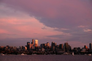gasworks park cityscape sunset seattle space needle clouds