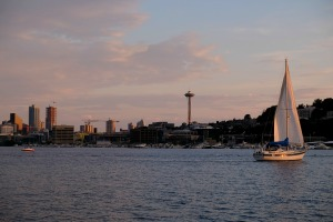gasworks park sailboat space needle seattle cityscape skyline