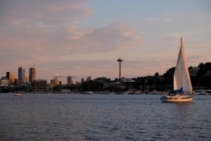gasworks park sailboat space needle seattle cityscape skyline